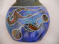 Excited to share the latest addition to my #etsy shop: Waterhole Dreaming Aboriginal Pottery Vase.Handmade and Hand Painted Ceramic Art from Australia.Signed by the Artist NAH. http://etsy.me/2FjIRi8 #art #blue #birthday #easter #brown #vintagevase #waterholedreaming #