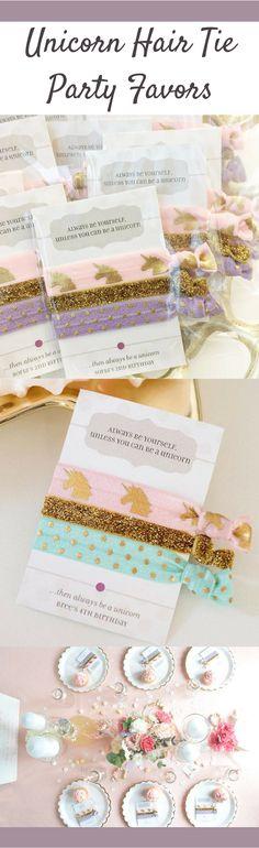 Unicorn Birthday Party Hair Tie Favors | Perfect for a little girls unicorn birthday party theme #ad #UnicornBirthdayParty #unicornparty #unicorn #birthdayparty #party #partyfavors