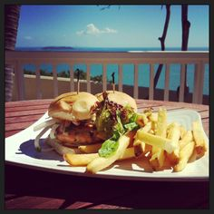 BBQ Salmon Sliders from Ventana Del Caribe at Las Casitas Village with a view of Palomino Island.
