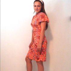 Vintage 70s Dress Flutter Sleeve Midi Silky 6/8