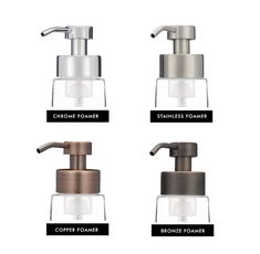 Our Real Metal Foaming Pumps fit our foaming soap dispensers and are available in a variety of finishes and styles. Add our pumps to one of our LARGE glass foaming soap dispensers or our SMALL glass foaming dispensers, or purchase an additional pump to go with your order to switch styles!   - This item ships FREE in the US ( free shipping does not apply to Canada orders) - Available in Stainless, Chrome, Bronze, and Copper - NEW! Chrome Foaming Pump (limit 4 please) * Please note that our…