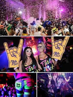 """Tus 15 años """"rock and rolleros"""" Birthday Bar, 16th Birthday, Birthday Parties, Glow In Dark Party, Glow Party, Festival Themed Party, Full Moon Party, Quinceanera Themes, Rock Star Party"""