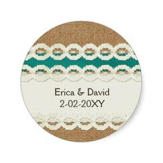 FAUX aqua lace and burlap , wedding seals Round Stickers