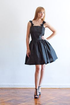 Square Neck Linen Dress with Side Pockets in Black