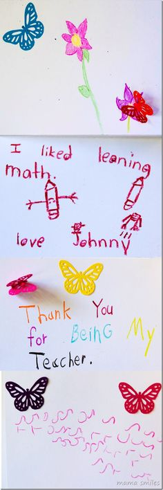 Simple, meaningful teacher thank you cards for kids to make