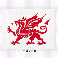 RED WELSH DRAGON SILHOUETTE CROCHET PATTERN GRAPH AFGHAN    CozyConcepts - Patterns on ArtFire