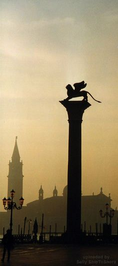 Venice - Winged Lion in winter mist.