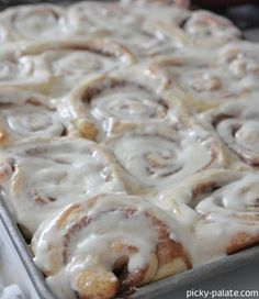 Perfect Cinnamon Rolls. Perfectly delicious and unhealthy. I also made another batch and put homemade pumpkin butter inside---which needs to cook longer than normal ones.