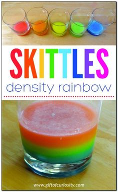 Skittles density rainbow - make a rainbow in your kitchen using a bag of Skittles! #candy #science #STEM #STEAM #handsonlearning #giftofcuriosity || Gift of Curiosity