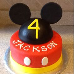 Mickey Mouse Birthday cake...@Haley Shackford we have a new baking project!