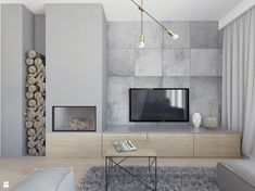 kominek z drewnem obok tv - Claudia Walter - Wohnmöbel Home Fireplace, Modern Fireplace, Living Room With Fireplace, Fireplace Design, Tiny Living Rooms, Home Living Room, Living Room Designs, Living Room Decor, Dining Room