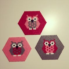 Owl coasters hama perler by annirenravn, but would be a neat pattern for an blanket