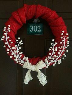 Country Christmas Wreath by LittleLadyWeaver. DIY idea, Christmas wreath, winter wreath, red and white wreath, winter projects Wreath Crafts, Diy Wreath, Christmas Projects, Christmas Crafts, Christmas Ornaments, White Wreath, Wreath Ideas, Door Wreaths, Grapevine Wreath