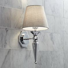 """Master Bath   Textured Fabric Shade 17 1/4"""" High Chrome Wall Sconce - #V3573 