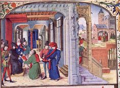 "Philip the Good of Burgundy arranged his palaces on the French plan: here he receives a book while seated on a throne under a cloth of estate in the ""chambre à parer"" or ""chamber parement"": the central, most formal & public space. Access is by a monumental staircase, the ""grande vis."" Within lies an inner room with a bed, the French ""chambre du roi."" Miniature attrib. to Loyset Liedet, by 1472, in David Aubert's Histoire de Charles Martel. Brussels, Bibliothèque royale, ms. 6, fol. 9"