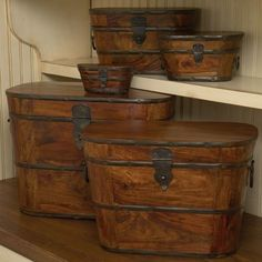 Global Views Set of Five Wood and Iron Storage Boxes