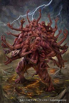 Horror Art by CyberAgent Inc. Cthulhu, Fantasy Monster, Monster Art, Illustration Fantasy, Art Ancien, Creation Art, Dnd Monsters, Monster Design, Creature Concept