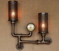 Unique Industrial Wall Lamp With Steam Gauge by RusticlivingStudio on Etsy