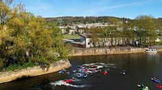 Below Pulteney weir with the Rec in the background