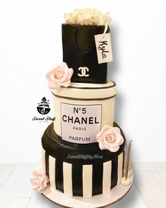 3 tier Black and White Chanel Inspired with Edible Rose Flower