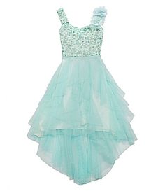 @bkrissman what do you think about this for Reese and Bella? Putting the little girls in my something blue...Tween Diva 716 SequinEmbellishedBodice Mesh Dress #Dillards