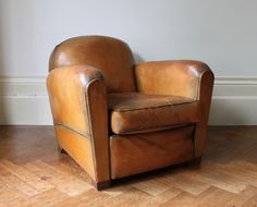 £595 French Leather Club Chair. 1930's. Available on www.christiannouyou.com