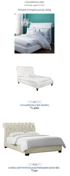 COPY CAT CHIC FIND: Z Gallerie Ella Bed VS Castella Soft White Faux Leather Queen Sleigh Bed