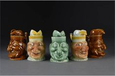 Five Falcon Ware Mr Punch head jugs: two colour painted finish - high; one gre Punch And Judy, Traditional Toys, The Saleroom, Paint Finishes, Paint Colors, Theatre, Porcelain, Auction, It Is Finished