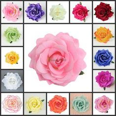 """10Pcs 4.3"""" Artificial Silk Flower Rose Heads For Wedding Party Craft Hair Clip"""