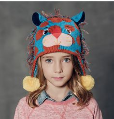 24dbd4cf8d3 3D tiger knit hat with ear flaps for kids animal winter hat