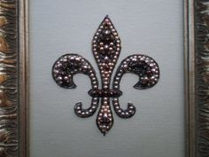 Beaded Fleur De Lis Art/Beaded Art/Fleur De Lis Decor/Mosaic Art/Repurposed Art/One Of A Kind/Jeweled Art on Etsy, $100.00