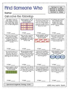 FIND SOMEONE WHO - 3.OA.1 - MULTIPLICATION AND DIVISION - COMMON CORE MATH - TeachersPayTeachers.com