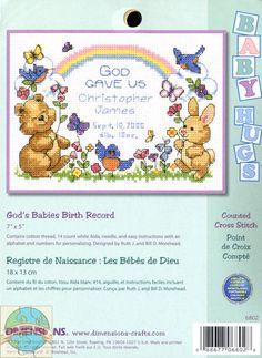 Baby Hugs - Gods Baby Birth Record - Cross Stitch World