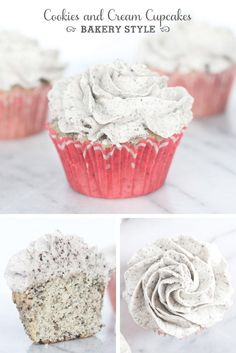 The ultimate bakery style cookies and cream cupcakes with bakery style buttercream frosting! The ultimate bakery style cookies and cream cupcakes with bakery style buttercream frosting! Cookie And Cream Cupcakes, Yummy Cupcakes, Cupcake Cookies, Oreo Cupcakes, Cream Cookies, Gourmet Cupcakes, Strawberry Cupcakes, Easter Cupcakes, Flower Cupcakes