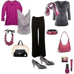 An outfit built with black and gray and pops of fuschia!