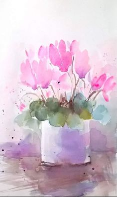 Cute little pink flowers painting em 2019 watercolor art, watercolor painti Watercolor Plants, Watercolor Sketch, Watercolor Cards, Watercolor And Ink, Watercolor Paintings, Watercolors, Pintura Graffiti, Art Aquarelle, Watercolor Pictures