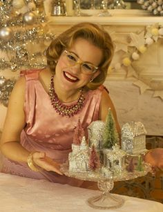 "Make A Dollar Store Christmas Village [ I love the lady!Say ""Hi"" to Lady Christmas Craft! Diy Christmas Village, Dollar Store Christmas, Christmas Villages, Retro Christmas, Christmas Love, Christmas Holidays, Christmas Decorations, Christmas Houses, Christmas Ideas"