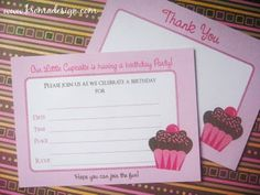 Free Printable - Pretty Pink & Brown Cupcake Invites, Thank You Cards, Tags, & Cupcake Toppers