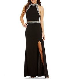 B. Darlin Jeweled Trim Two-Piece Long Dress