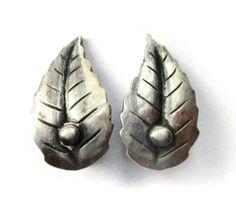 Danish clip on leaf earrings, S Chr Fogh 830 silver design, Scandinavian silver, floral clipons, 925 mid century modern jewelry Denmark. https://www.etsy.com/uk/inglenookery/listing/512580592/danish-clip-on-leaf-earrings-s-chr-fogh