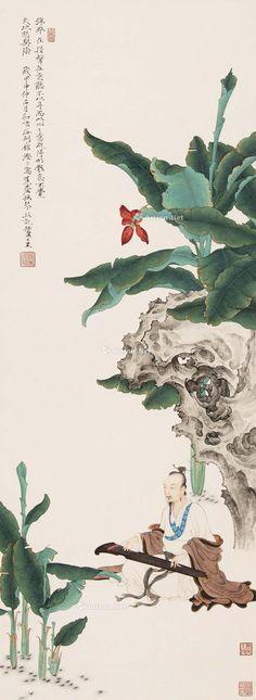 抚琴高士 立轴 纸本 Ren Zhong (Chinese, born 1976). 撫琴高士 . Ink and color on paper; hanging scroll, 2004