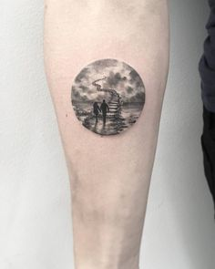 Jim Warren's Stairway to Heaven inspired circle tattoo on the right inner forearm. Tattoo Artist: Eva krbdk