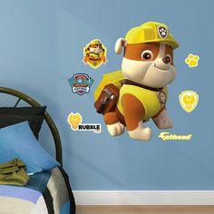 Fathead Paw Patrol Rubble Jr Wall Decal - Wall Sticker, Mural, & Decal Designs at Wall Sticker Outlet Wall Sticker, Wall Decals, Dinosaur Kids Room, Andys Room, Rubble Paw Patrol, Character Home, Paw Patrol Birthday, New Baby Products, Murals