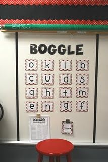 Boggle game bulletin board {idea amp; printable Boggle form found here at Cre