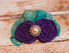 Jewel-bilee - headband in teal/aqua and purple by SoTweetDesigns, $8.00