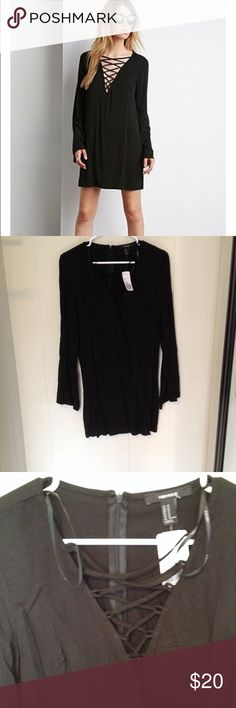 FOREVER 21 black lace up dress Love this dress. NWT! Size medium. True to size medium, but did not fit my chest. So cute. Can dress up or down Forever 21 Dresses Mini