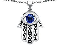 Original Star K(tm) Kabbalah Good Luck Hamsa Evil Eye Protection Pendant with Round Created Sapphire in 925 Sterling Silver Star K. $99.99. Guaranteed Authentic from the Star K designer line. Star K. Designs are exclusive and protected by Copyright Laws. Free Chain in a matching metal will be included