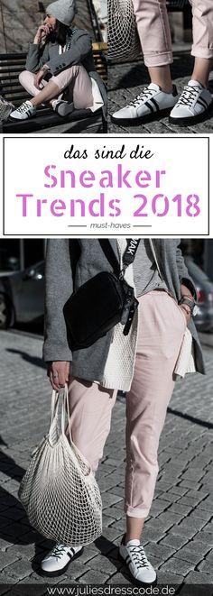 Das sind die Sneaker Trends 2018. Die sch�nsten Sneaker Modelle, wie wir Turnschuhe tragen und wie du Sneaker in dein Alltagsoutfit einbaust findest du jetzt auf Julies Dresscode dem Fashion Blog | https://juliesdresscode.de | Outfitidee, Trends 2018, Outfit f�r den Fr�hling, Streetstyle, Fashion Blog, Style Blog
