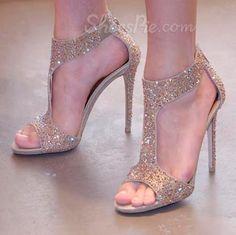 Glittering  Rhinestone Stiletto Heel  Dress Sandals