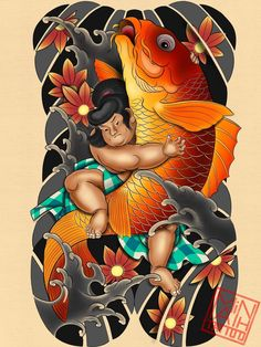Japan Tattoo Design, Japanese Tattoo Designs, Japanese Design, Samurai Tattoo, Japan Fashion, Lunges, Tigger, Bowser, Fish
